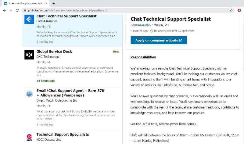 chat support online jobs
