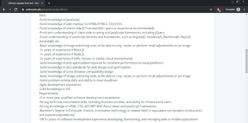 software engineer job requirements