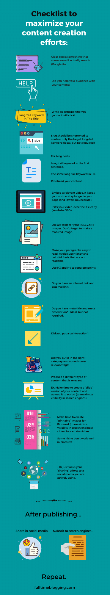 checklist to maximize content creation efforts