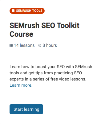 SEMrush SEO Toolkit Course