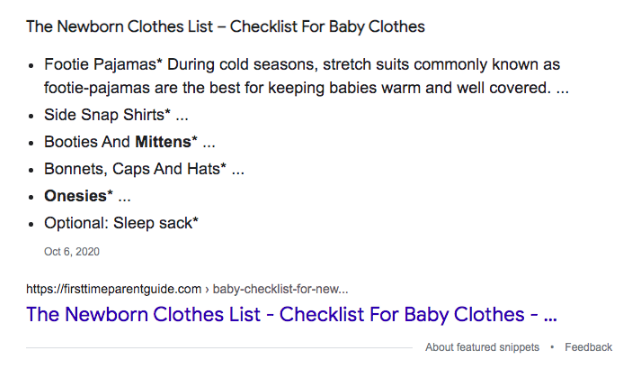 featured snippet list