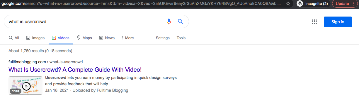 how to get position 1 in google video