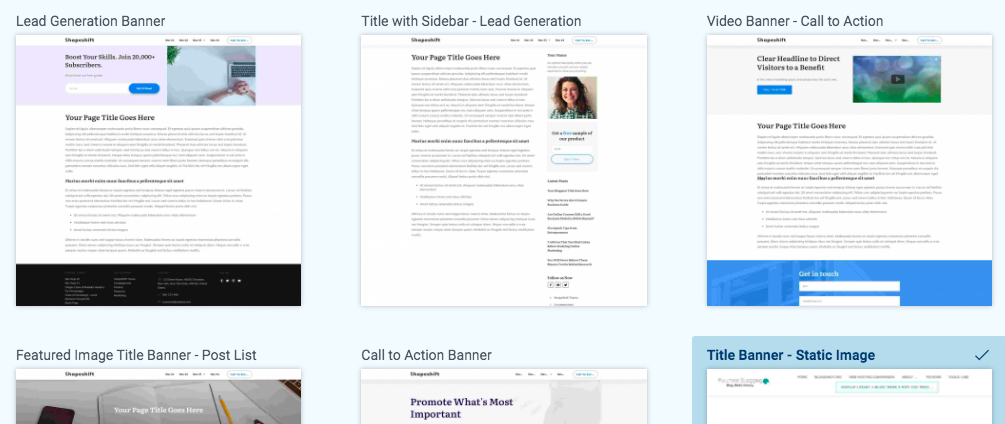 blog page templates