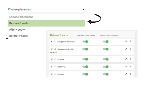 codes to save in Thrive Analytics and scripts
