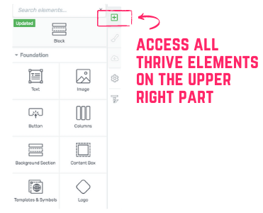how to access Thrive Architect elements