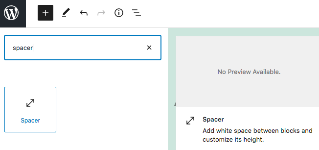 how to add a space in gutenberg