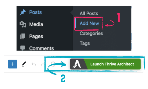 how to create a Thrive Architect post