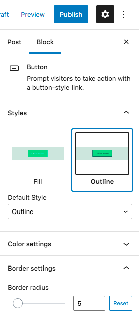 how to customize a button in block editor