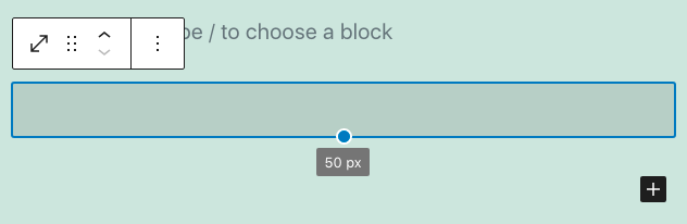 how to set the amount of space in block editor