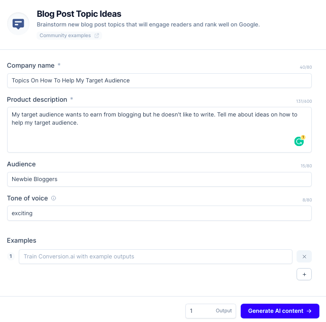 how to use the blog post topic ideas template of ConversionAI