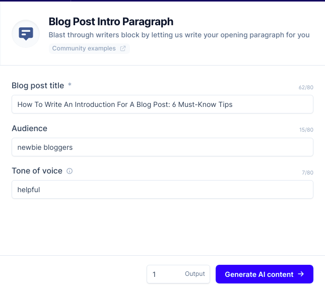 template for blog post intro