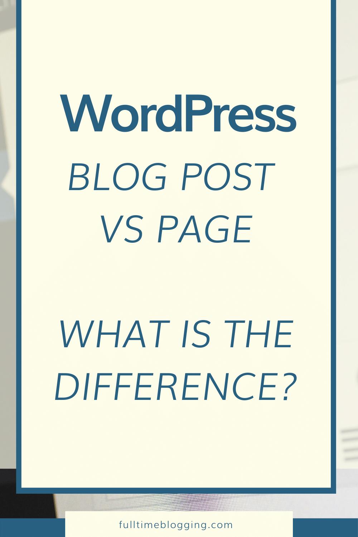 wordpress blog post vs page
