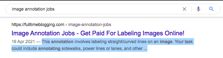 example of what google shows in the meta description